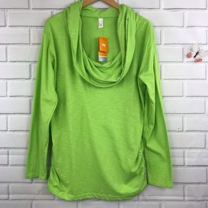 Lucy Retreat Cowl Nexk Pullover Top NWT Green